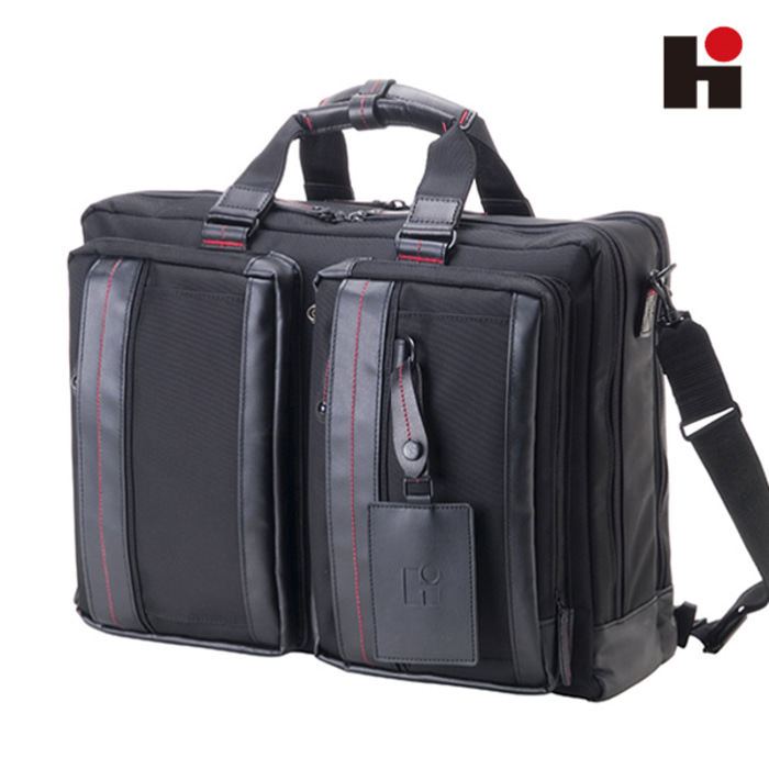 [히데오와카마츠 공식] HD FIELD II 3WAY NYLON WITH LEATHER BUSINESS BAG